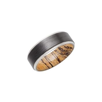 Grooved Zirconium Band Ring with Spalted Tamarind Hardwood Sleeve