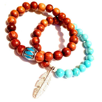 Turquoise and Sandalwood Tribal Stack Set-Stretch-Tribal-Bohemian-Boho Chic