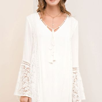 Wedding Belles White Lace Bell Sleeve Shift Dress
