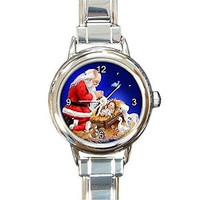 Christmas Santa Watching Jesus on a  Round  Charm Watch.. Think Small Wrist