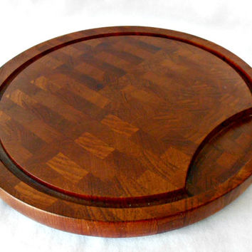Mid Century Danish Modern Digsmed Teak Board, Large Round Cutting Board, Digsmed Denmark Staved Teak Cutting Board, Denmark Teak Meat Board