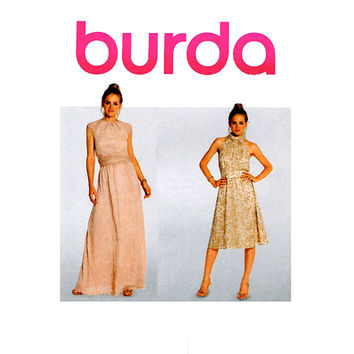 EVENING GOWN PATTERN Cocktail Fit & Flare Dress Standing Collar Summer Maxi Dresses Burda 7260 Bust 30 - 39.5 UNCuT Womens Sewing Patterns