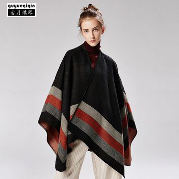 Guyueqiqin 2018 New Arrival Striped Pashmina Women Four Stripes Jacquard Scarves Wraps 6 Colors Femme Streetwear Ponchos Capes