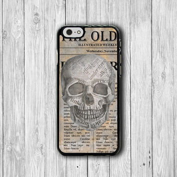 Vintage Halloween Newspaper Skull Ghost Handmade iPhone 6 Plus, iPhone 5S, iPhone 5 Case, iPhone 5C Case iPhone 4S Case, iPhone 4 Cover Gift