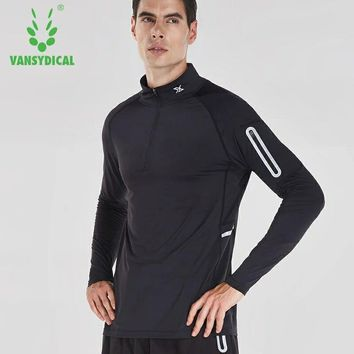 Vansydical Men Shirt Compression Sports TShirt Fitness Men Crossfit T-Shirt Long Sleeve Running Gym Tops For Male Workout Tops