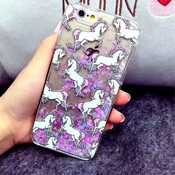 Animal Glitter Unicorn Cat Fish Case For Fundas Iphone 7 7Plus 5 5S 5C SE 6 6s Plus Liquid Fluorescent Quicksand Case Case Para