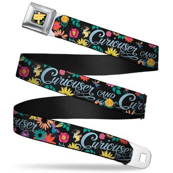 Alice In Wonderland This Way Sign Flowers Full Color Curiouser And Seatbelt Belt Standard