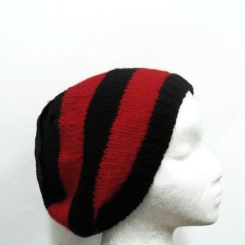 Beanie hat, red black stripes, knitted, knit hat, knitted beanie  4791