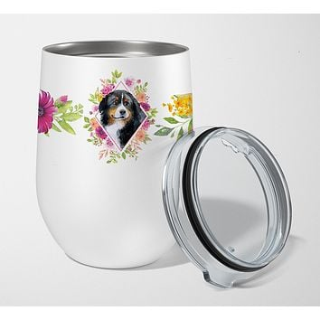 Bernese Mountain Dog Pink Flowers Stainless Steel 12 oz Stemless Wine Glass CK4118TBL12
