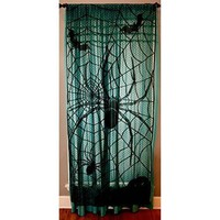 Black Spider Halloween Lace Window Curtain - 36 Inches X 84 Inches