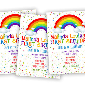 Rainbow 1st Birthday Invitation - Confetti Rainbow Invitations - ONE Girls Birthday Party Invites - Sprinkle Rainbow Birthday Invite 2nd 3rd