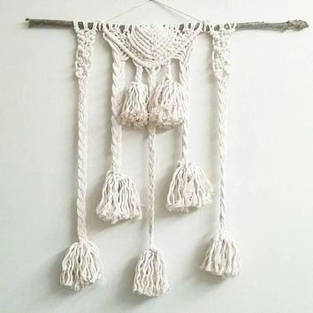 Custom Macrame Curtain- Macrame Wall Hanging~ Bohemian Furniture~ Boho Wall Decor~ Wedding Decor~ White Wall Accent- Bohemian Bedroom Decor