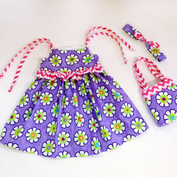 2T dress purple floral dress toddler outfit headband baby outfit boutique dress little girl purse spring dress summer dress child tote