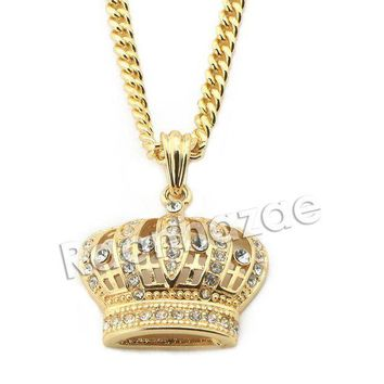 Mens Iced Out Brass Bling King Crown Pendant W/ 5mm 24' 30' Cuban Chain A02