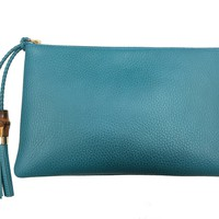 Gucci Women's Deep Cobalt Bamboo Clutch 449652