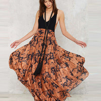 Brown Maxi Swing Skirt with Side Split