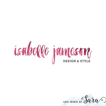 Premade Logo Design Watercolor Text Logo Typographic Logo Ink Brush Logo Etsy Shop Logo Small Business Logo Website Logo Blog Logo in Text
