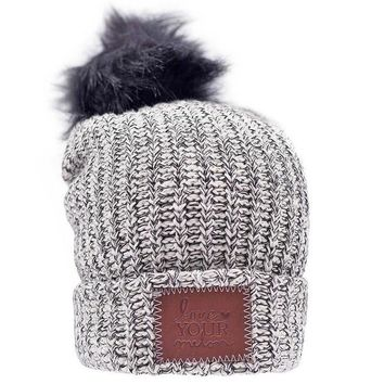 Black Speckled Cuffed Pom Beanie (Black Pom) - Love Your Melon