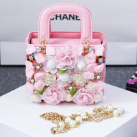 Handmade Leather Flower Mini  Handbags, Girl Present Party Handbags with long Chain