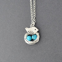 turquoise Silver Robin's 2 Eggs in the nest with bird Necklace, mom of  2 kids, silver long necklace