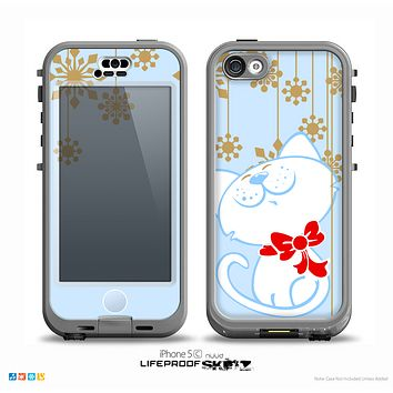 The Happy Winter Cartoon Cat Skin for the iPhone 5c nüüd LifeProof Case
