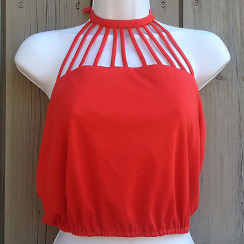 Vintage top | Red cage neckline Frederick's of Hollywood crop top halter top