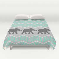 Three Elephants - Teal and White Chevron on Grey Duvet Cover by Tangerine-Tane