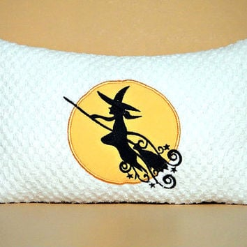 Witch Halloween Pillow Broomstick Moon White Black Yellow Decorative Repurposed