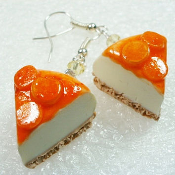 Citrus Cheesecake earrings. Polymer clay.