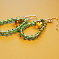 Sterling Silver Filled Wire Wrap Swarovski Green Polished Czech Beads Yellow Crystals Earrings - Water Drop - Jewelry - Gift - For her
