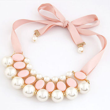 NN51 LZ  2016 New Design High Quality Fashion Garden Style Candy Color Ribbon simulated pearl Chocker Pendant Necklace