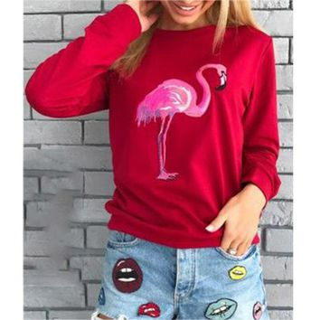 Women Hoodies Sweatshirts Flamingo Printed Casual Pullover Women Tops Fashion New Autumn Winter Red/Pink/Gray Sweatshirts