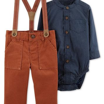 Carter's Baby Boys 2-Pc. Woven Cotton Bodysuit & Suspender Pants Set Kids - Sets & Outfits - Macy's