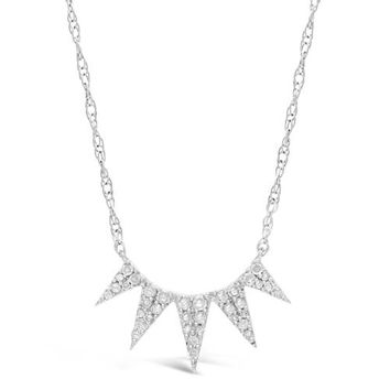 """.20 cttw Diamond 5 Spike Sterling Silver Pendant Necklace 18"""""""