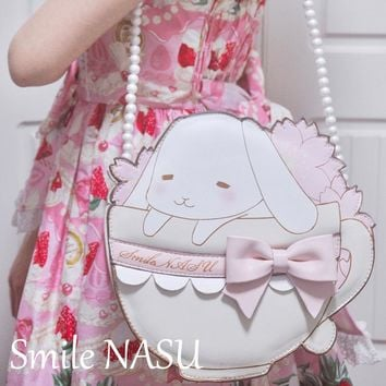 MSMO Japanese Kawaii Cartoon Rabbit Women Messenger Bag Makeup Bag Sweet Lolita Girls Candy Bag Fashion Gothic Style Bag