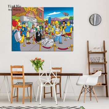 Modular Wall Art Frameworks 1 Pieces Canvas Painting Simpsons Anime Posters Pictures Modern Cuadros Decoration Kids Room Artwork