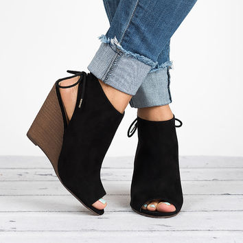 Peep Toe Wedge Booties - Black