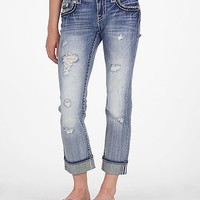 Miss Me Two-Tone Glitz Stretch Cropped Jean
