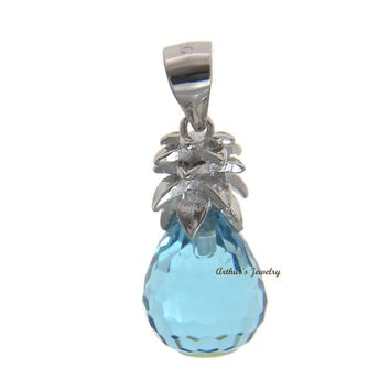 FACETED BLUE CRYSTAL HAWAIIAN PINEAPPLE CHARM PENDANT 925 STERLING SILVER 9.8MM