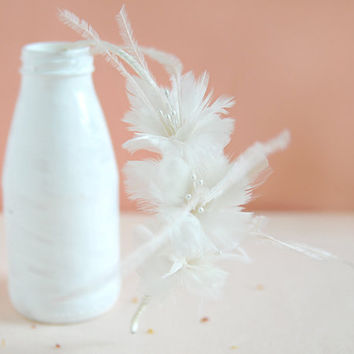 Love You Love Me - one of a kind bridal feather headband, white feather flower, bridesmaid headpiece