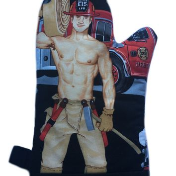 Ed the Firefighter Handmade Oven Mitt - Hotties with Bodies