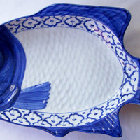 "Thai CERAMIC PLATE / Dish / Platter Fish Shaped Perch ~ Blue & White Dish~  Hand Painted by Artisans 15.5"" x 8"" x 2.35"" New ~ Ships from USA"
