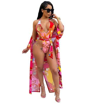 Women Sexy Printed Two Piece Swimsuit Cover Up Set