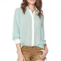 Collette Chiffon Blouse in Mint - ShopSosie.com