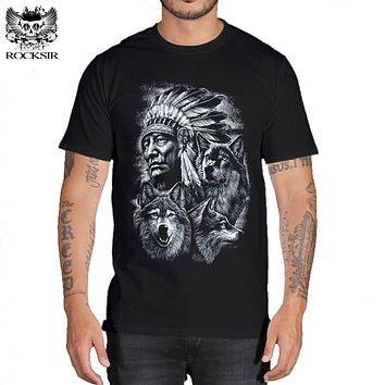 Rocksir 3d wolf t shirt mens Brand 3D Indians wolf Print t shirts Cotton wolves Men t-shirt Casual Man Tees Mens Tops