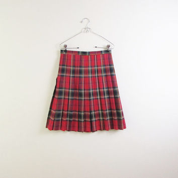 lords of parliament plaid skirt | scottish tartan plaid | Paul Stanley 80s | pleated skirt | mini | high waist | red scotch plaid | xs | s