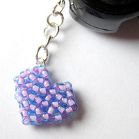 Aqua / Bubblegum Pink, Beaded Dust Plug, Heart Charm, IPhone, Smartphone, Ipod Dust Plug, Anti-Dust Plug, Stocking Stuffer