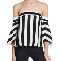 MILLY Off-The-Shoulder Striped Rosa Top | Bloomingdales's