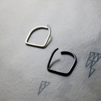Stirrup Septum Ring - sterling silver or black niobium - hypoallergenic piercing - unique piercing ring - by snakesninja - FREE US shipping
