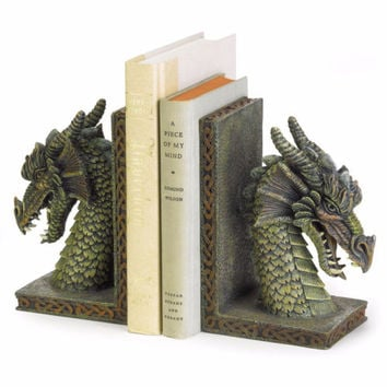 Mythical Green Dragon Bookends Office School Desk Table Polyresin Book Ends Set